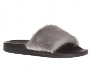 Givenchy Grey Mink Fur Slides
