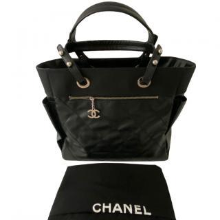 Chanel Black Leather & Canvas City Shopper Tote