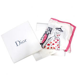 Dior White & Pink Line Drawing Silk Scarf 50