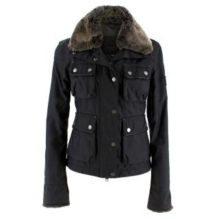 Belstaff Black Waterproof Jacket w/ Fur Collar and Cuffs