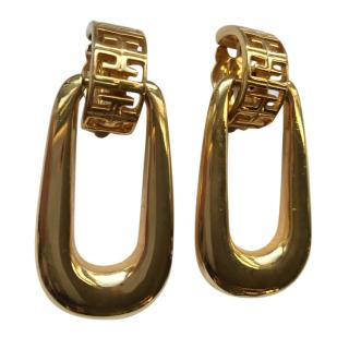 Givenchy Gold Couture Logo Drop Earrings