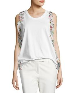 3.1 Phillip Lim cotton tank top with silk floral printed ruffle trim