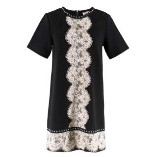 Lanvin Black Mini Dress With Lace and Stud Detailing