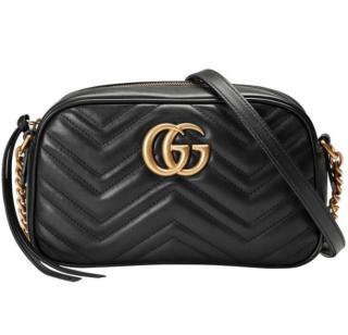 Gucci Black Leather Marmont GG Shoulder Bag