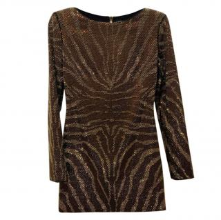 Balmain Bronze Sequin Animal Print Dress