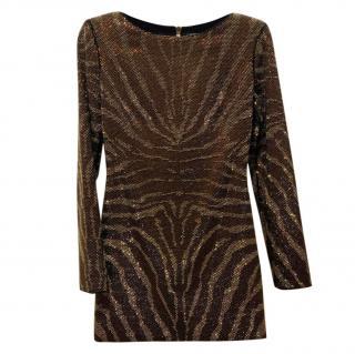 Balmain Bronze Sequin Animal Print Dress