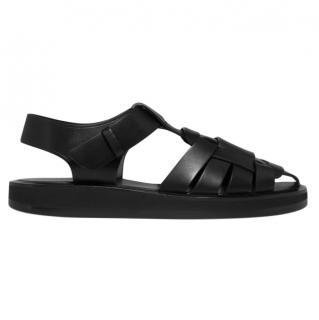 The Row Black Leather Gaia 2 Sandals - New Season