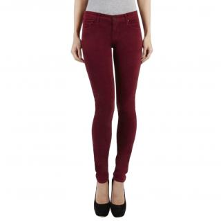Mother The Looker Sweet Wine Velvet Skinny Jeans