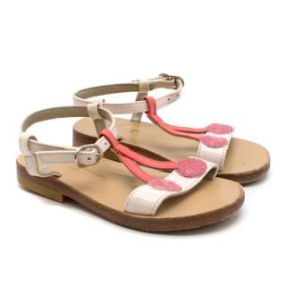 Bonpoint Pink Patent Leather Cherry Sandals