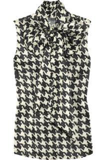 Alexander McQueen Houndstooth Sleeveless Pussy Bow Top