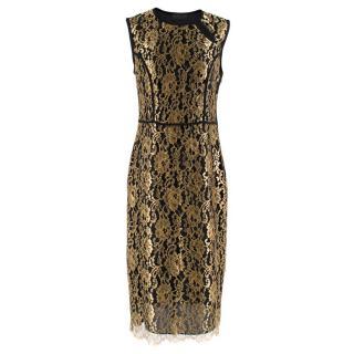 Derek Lam Black & Gold Lace Sheath Dress