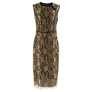 Derek Lam Black & Gold Lace Sheath Dress