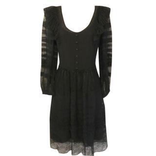 Derek Lam Black Silk Sheer Dress