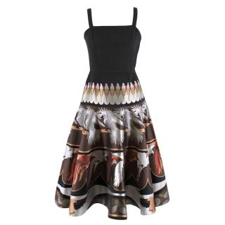 Fendi Jacquard Parrot Print Silk Princess Dress