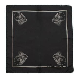 Alexander McQueen Black Silk Skull Print Pocket Square