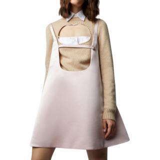 Prada blush silk trapeze pinafore dress