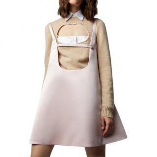 Prada blush silk trapeze pinafore dress