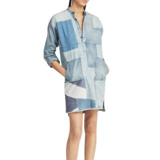 Polo Ralph Lauren Denim Patchwork Cotyon Shirt Dress