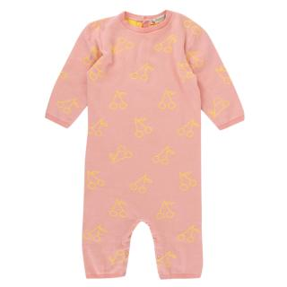 Bonpoint Pink & Yellow Cherry Print Baby Grow - 3 Months