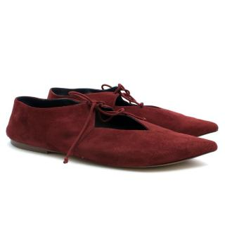 Celine Burgundy Suede Babouche Slippers