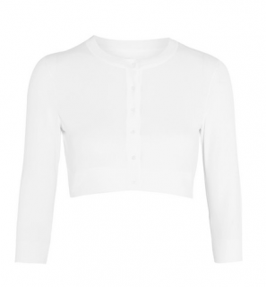 Alaia Ivory Cropped Stretch Wool Cardigan