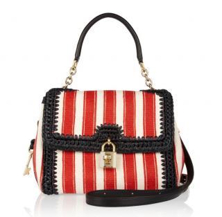 Dolce & Gabbana Miss Dolce Raffia striped satchel bag
