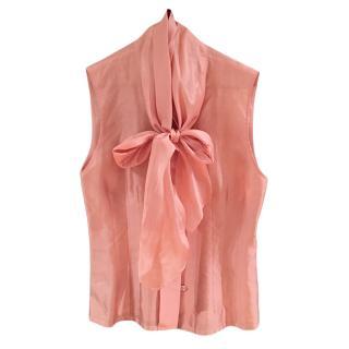 Hermes Peach Silk Pussy Bow Sleeveless Top