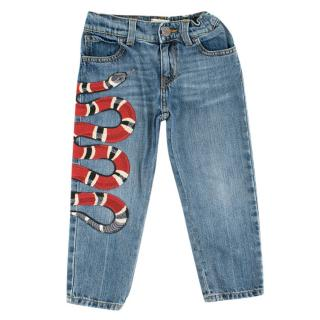 Gucci 4Yrs Embroidered Snake Denim Jeans