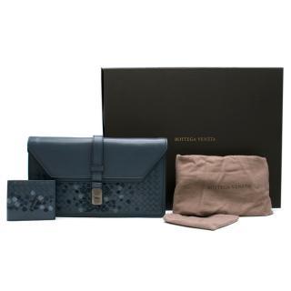Bottega Veneta Blue Embroidered Intrecciato Leather Pouch & Wallet