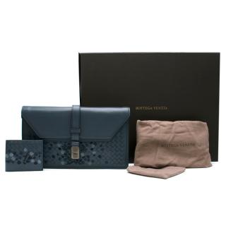 Bottega Veneta Blue Embroidered Intrecciato Leather Pouch & Wallet