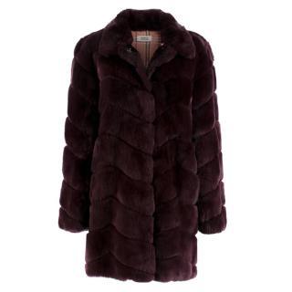 Meteo Yves Salomon Burgundy Rex Rabbit Fur Coat