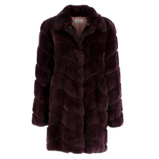 Meteo Yves Salomon Burgundy Rex Rabbit Fur Coat