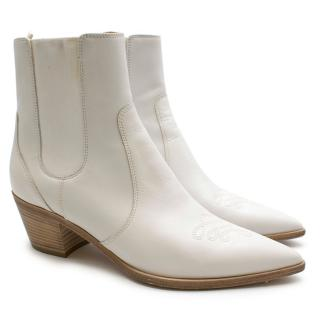 Gianvito Rossi White Embroidered Western Ankle Boots