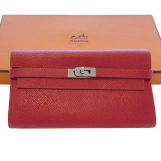 Hermes Rouge Casaque Epsom Leather Kelly Wallet PHW