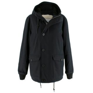 Sandro Faux-fur lined hooded cotton-blend coat