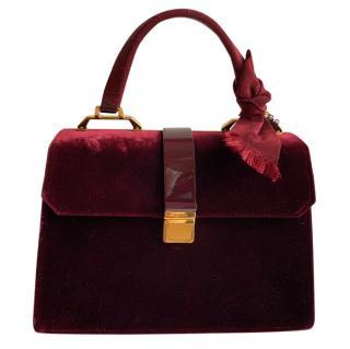 Miu Miu Burgundy Velvet & Leather Tote Bag