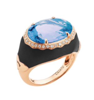 Castato Milano 18ct Rose Gold Topaz & Diamond Enamel Set Cocktail Ring