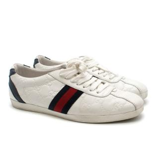 Gucci White Monogram Ace Sneakers