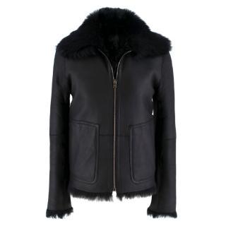 Jil Sander Black Fur Lined Leather Jacket