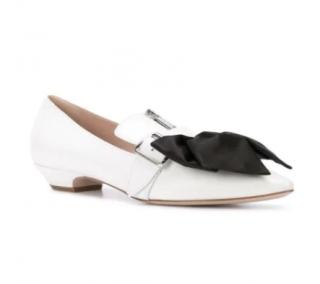 Miu Miu White Bow Detail Zip Ballerinas