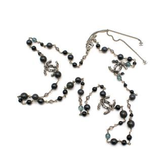 Chanel Black & Grey Beaded CC Single Strand Necklace