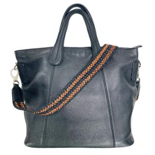 Tod's black pebbled leather tote bag