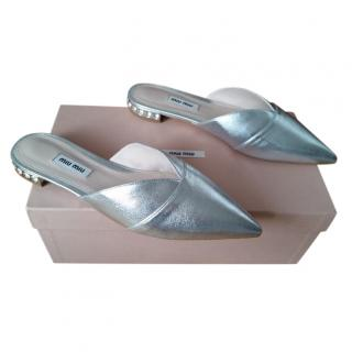 Miu Miu Silver Leather Crystal Heel Slides