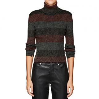 A.L.C Mariel Metstriped Wool-blend Turtleneck Sweater