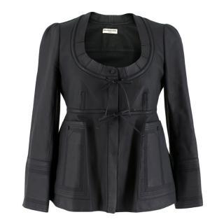 Balenciaga Scoop Neck Soft Leather Jacket