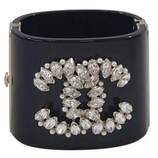 Chanel Black Resin Crystal Embellished CC Cuff