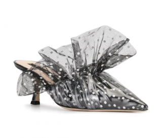 Midnight 00 Polka Dot Patterned Ruffled Mules