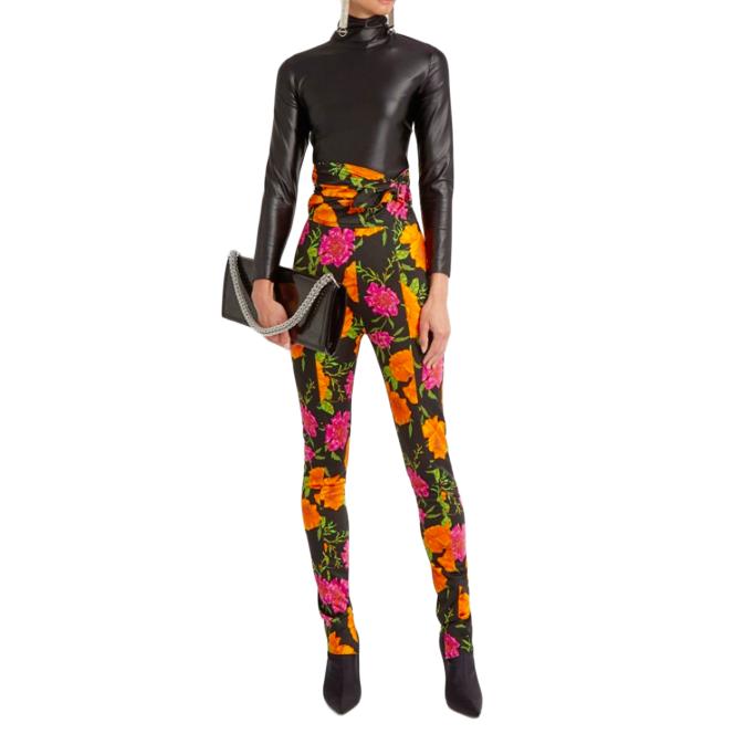 Balenciaga Floral Print High Rise Tie Waist Leggings