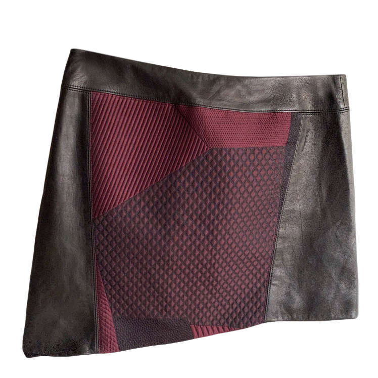 Helmut Lang asymmetric faux leather panelled mini skirt