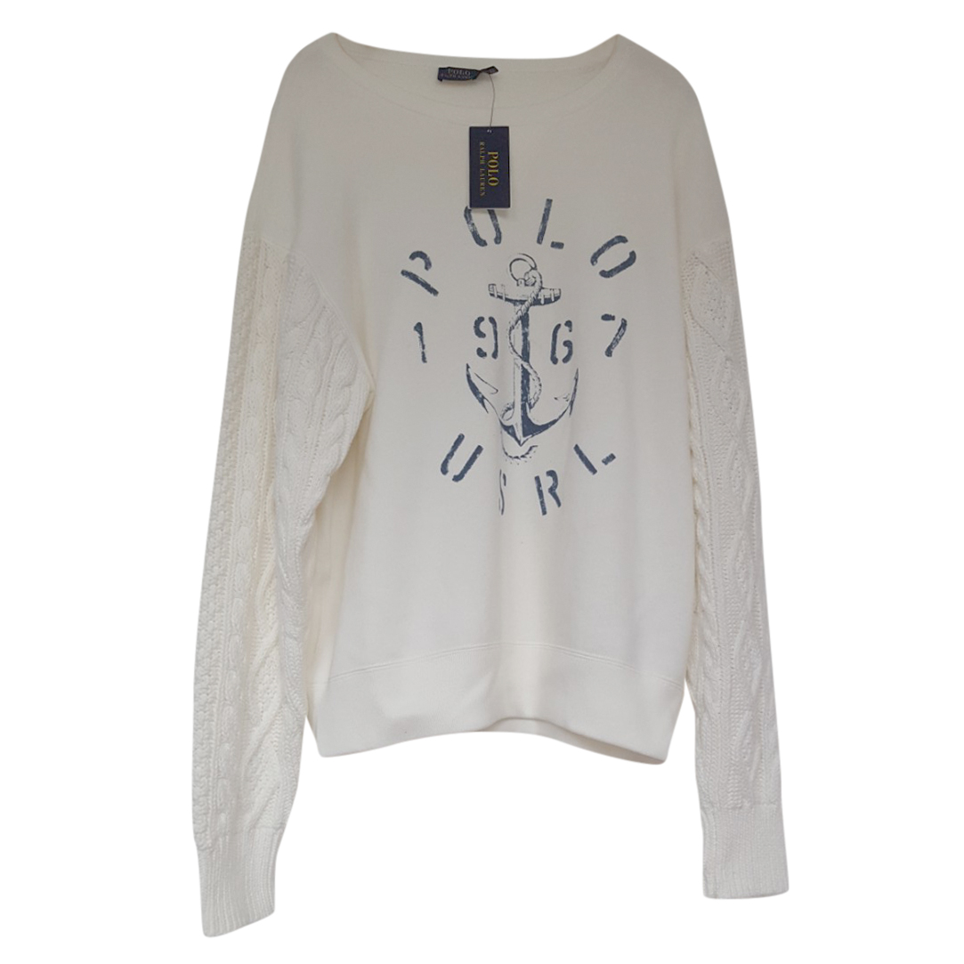 Polo Ralph Lauren Ivory Sweatshirt w/ Cable Knit Sleeves